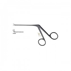 Micro Alligator Ear Forceps with 4mm Tip Angled Up Serrated - Black Coated